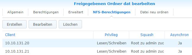 NFS Berechtigungen