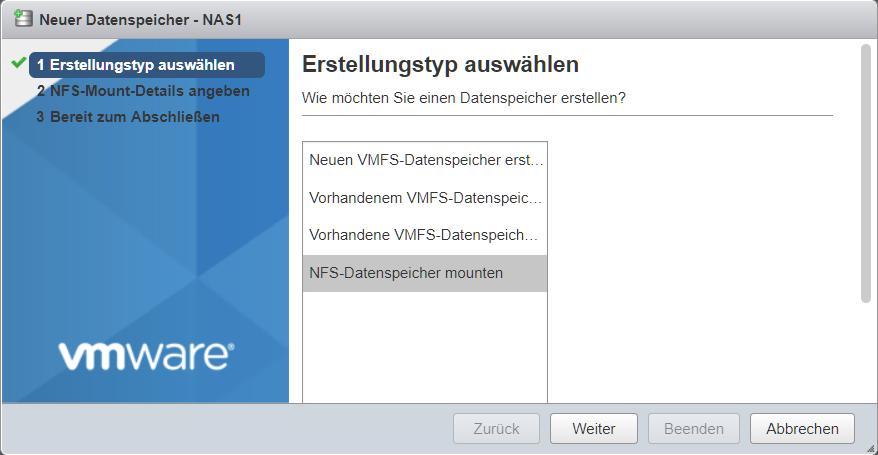 vsphere new datastore