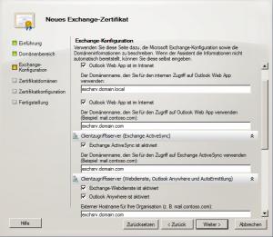 Exchange Zertifikat erstellen