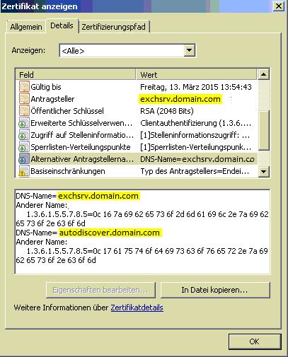 Exchange Sicherheitszertifikat stimmt nicht mit Namen der Webseite ...