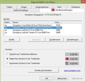 Synaptics Geräteeinstellungen