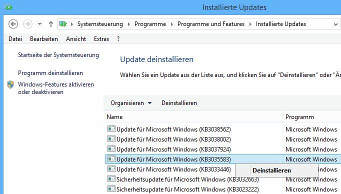 Installierte Updates KB3035583