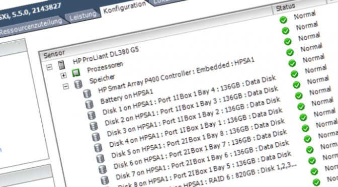 VMware ESXi 5.5 HP P400 Systemstatus