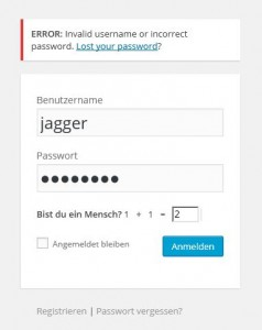 invalid username or incorect password