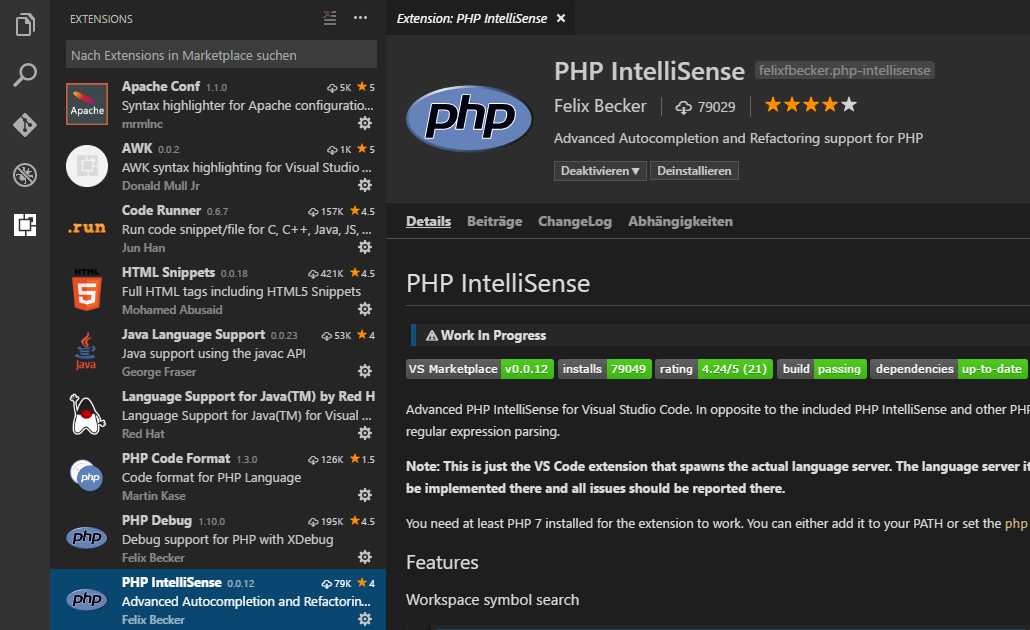 Visual Studio Code PHP IntelliSense