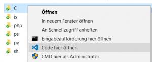 VS Code open folder