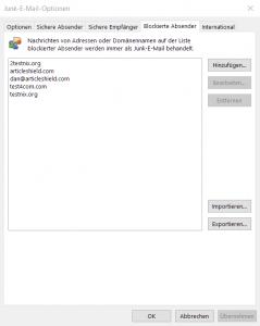 Abbildung: Junk-E-Mail Optionen: Blockierte Abesnder
