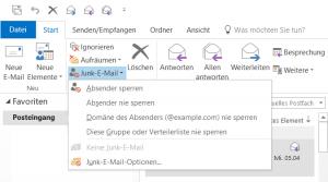 Empfang in den Outlook Ordner Junk-E-Mail verschoben