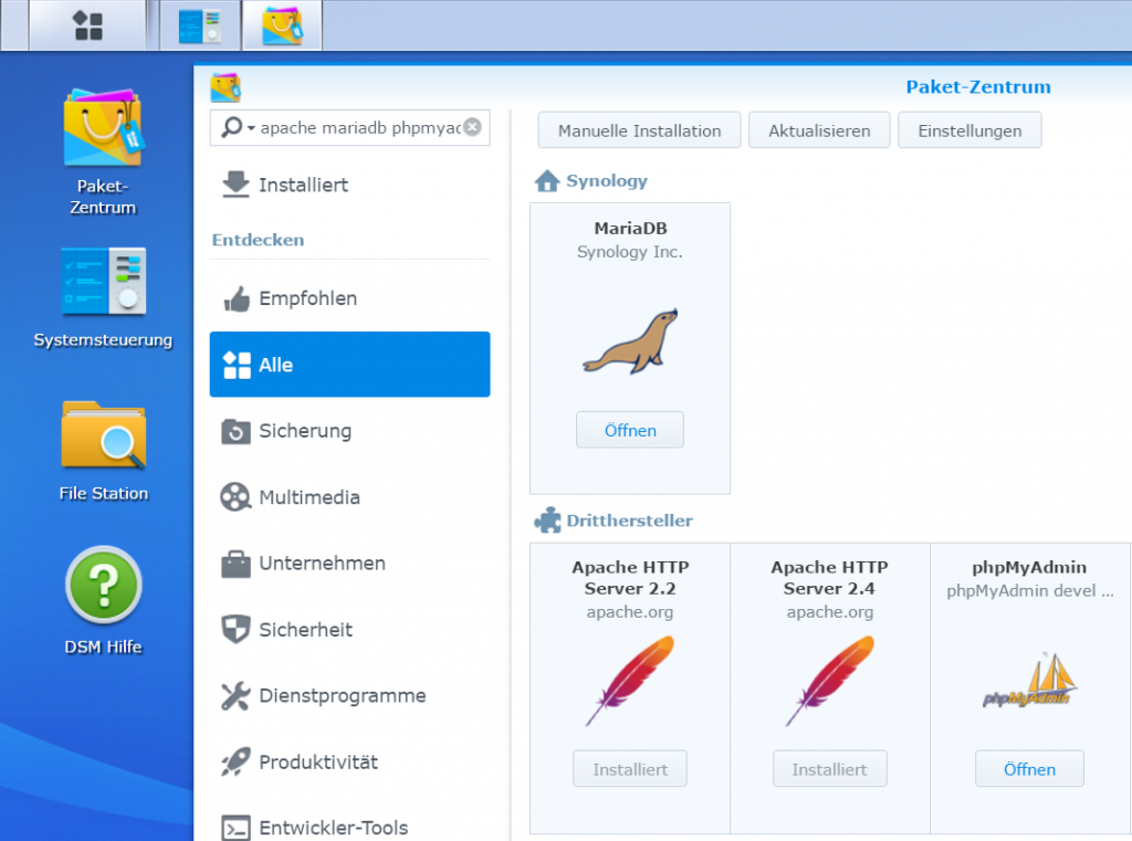 Synology DSM Package Center