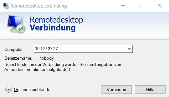 Die Remotedesktop Verbindung zum Linux xrdp-Server