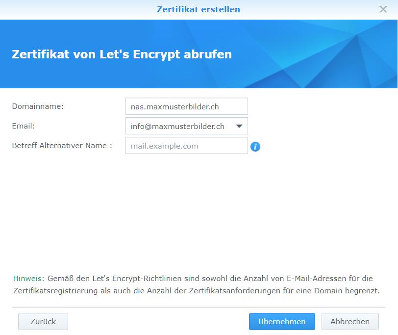 Synology Let's Encrypt Zertifikat abrufen