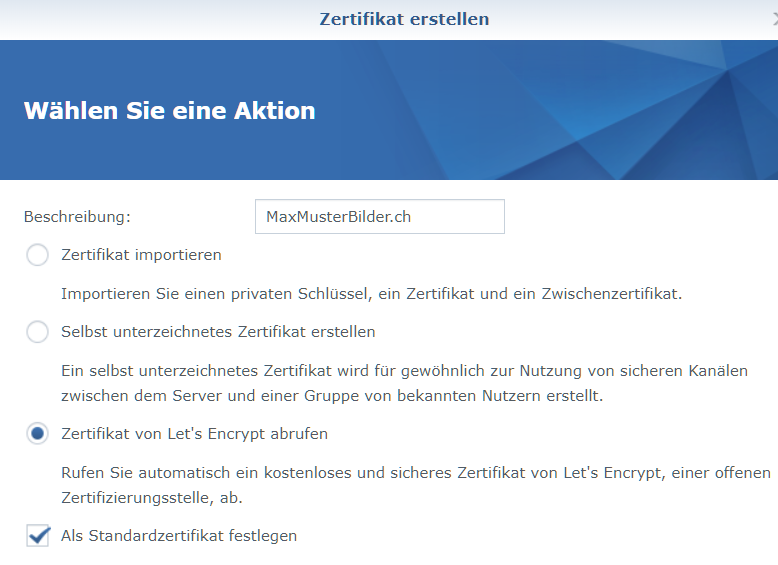 Let\'s Encrypt SSL-Zertifikat für Synology DSM6 Think Tank Blog