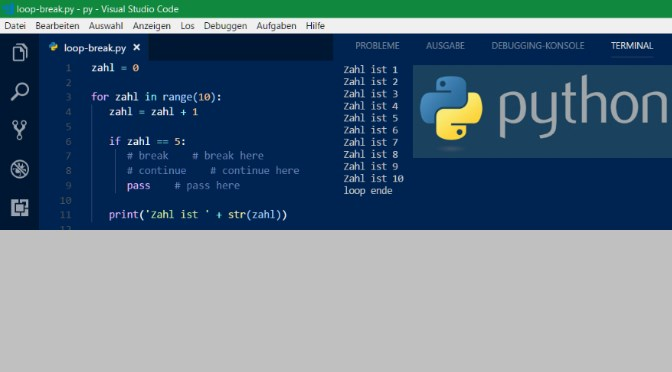 Python Loops mit Break- Continue- Pass