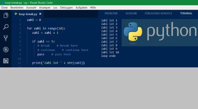 Python Loops mit Break- Continue- Pass