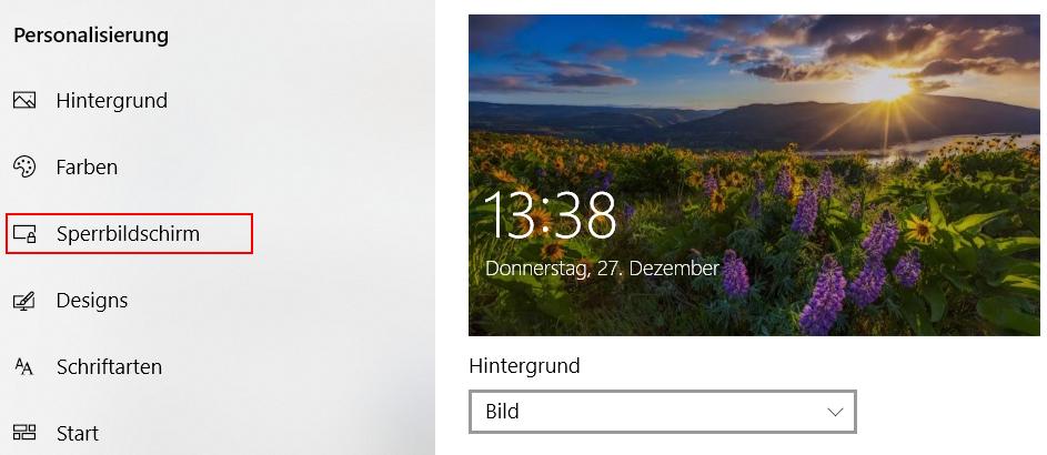 Die Einstellungen öffnen, klicke auf - Personalisierung und - Sperrbildschirm, hier Hintergrund auf Bild umstellen.