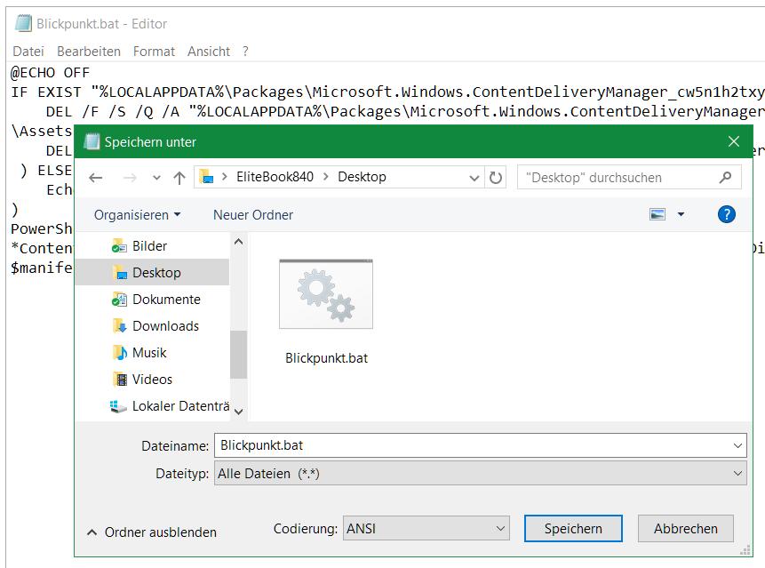 Auf Datei - Speichern unter, und als Dateiname Blickpunkt.bat Speichern.