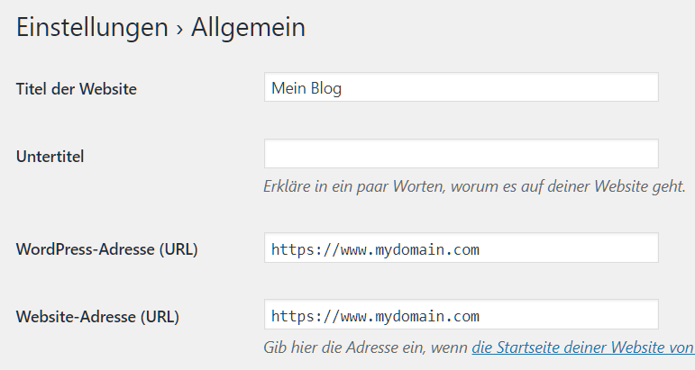WordPress-Adresse (URL) undWebsite-Adresse (URL)