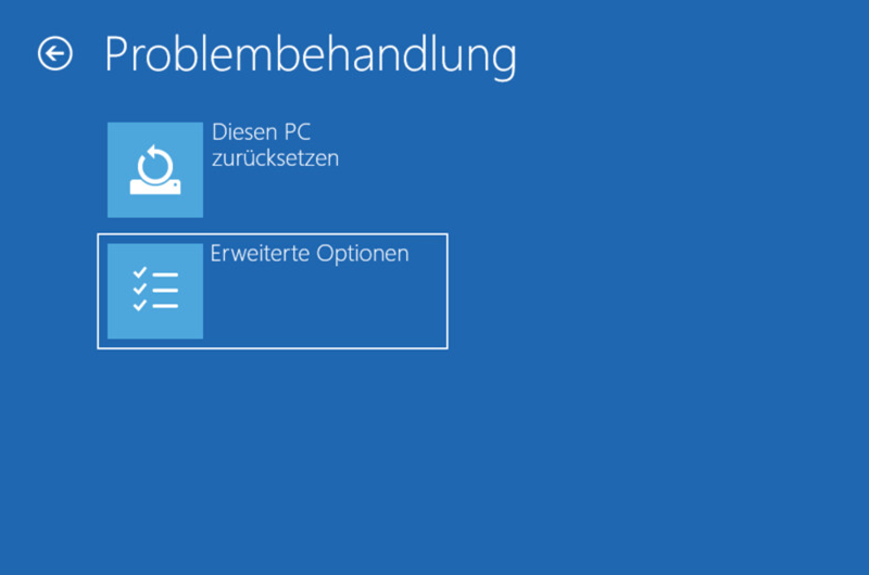 Windows Problembehandlung Erweiterte Optionen