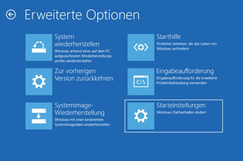 Windows Problembehandlung Starteinstellungen