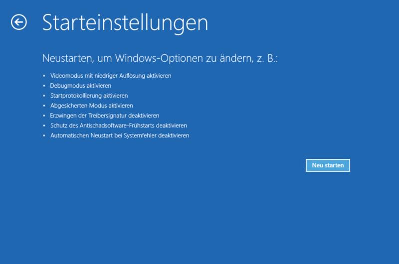 Windows Problembehandlung Starteinstellungen Neu starten