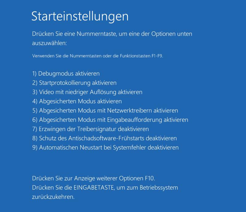 Windows Starteinstellungen
