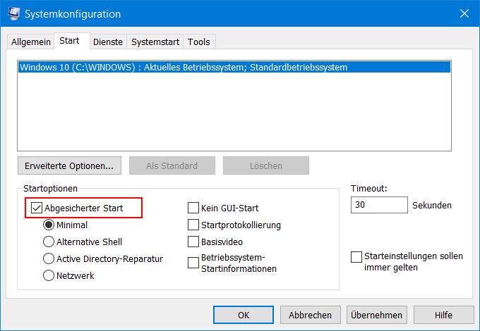 Systemkonfiguration - Abgesicherter Start