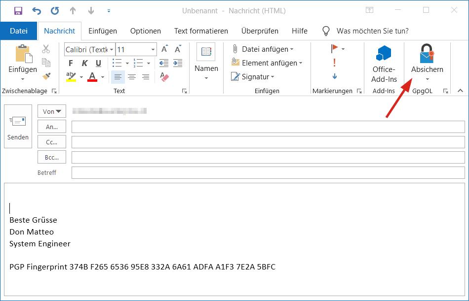 Beim verfassen einer Nachricht die Signiert und verschlüsselt werden soll, klickt man die Option Absichern im Outlook Ribbon.