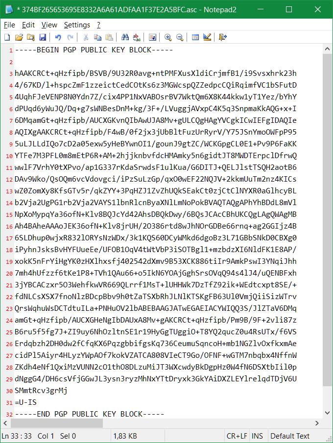 Der in der asc-Datei exportierte öffentliche Schlüssel kann in Notepad geöffnet werden, den Inhalt mit Copy & Paste in ein E-Mail einfügen.