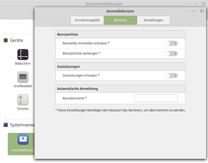 Linux Mint Automatische Anmeldung, das Feld Benutzername muss leer sein