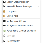 Nemo File Manager Context Menu Extract here