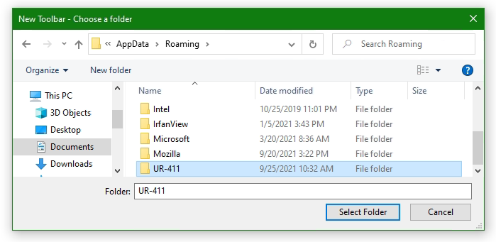 New Toolbar Choose a folder