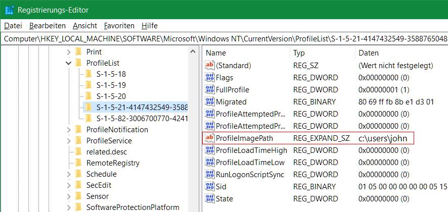 Hiermit kann beispielsweise mit der SID der ProfileImagePath zum Benutzerprofil in der Registry gefunden werden, um Reparaturen oder Anpassungen vornehmen zu können.