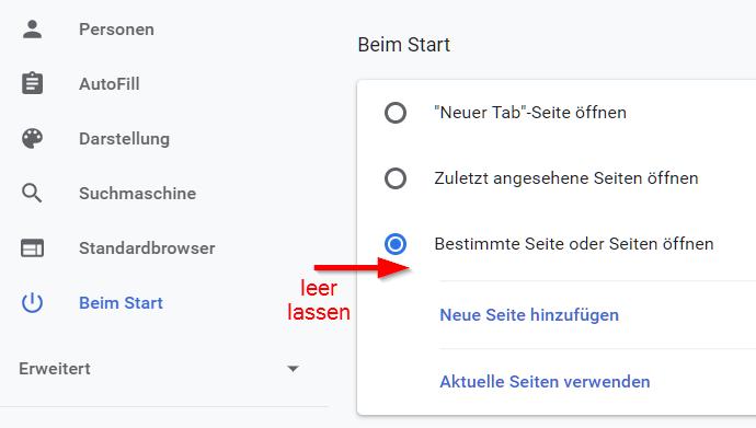 Dazu in Chrome auf Einstellungen gehen, und zu Beim Start gehen, bei Bestimmte Seite oder Seiten öffnen leer lassen.
