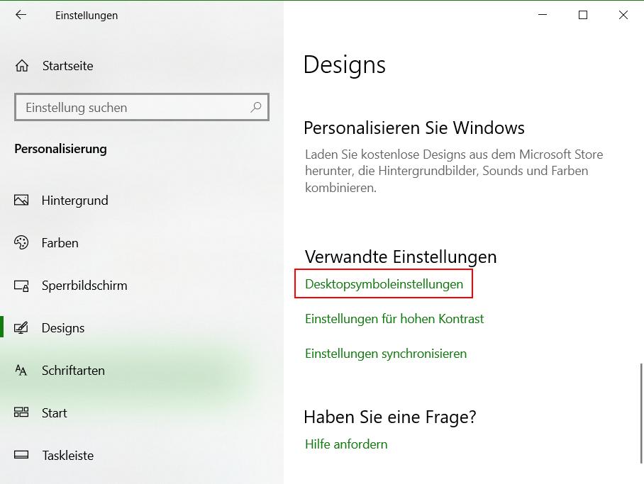 Windows Papierkorb nicht mehr auf Desktop, aber im Explorer anzeigen, dazu geht man zu den Einstellungen - Personalisierung - Design - Desktopsymboleinstellungen