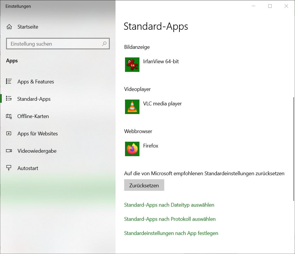 Einstellungen-Standard-Apps
