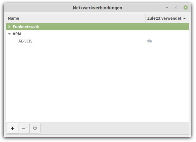 Cinnamon Fenster Netzwerkverbindungen