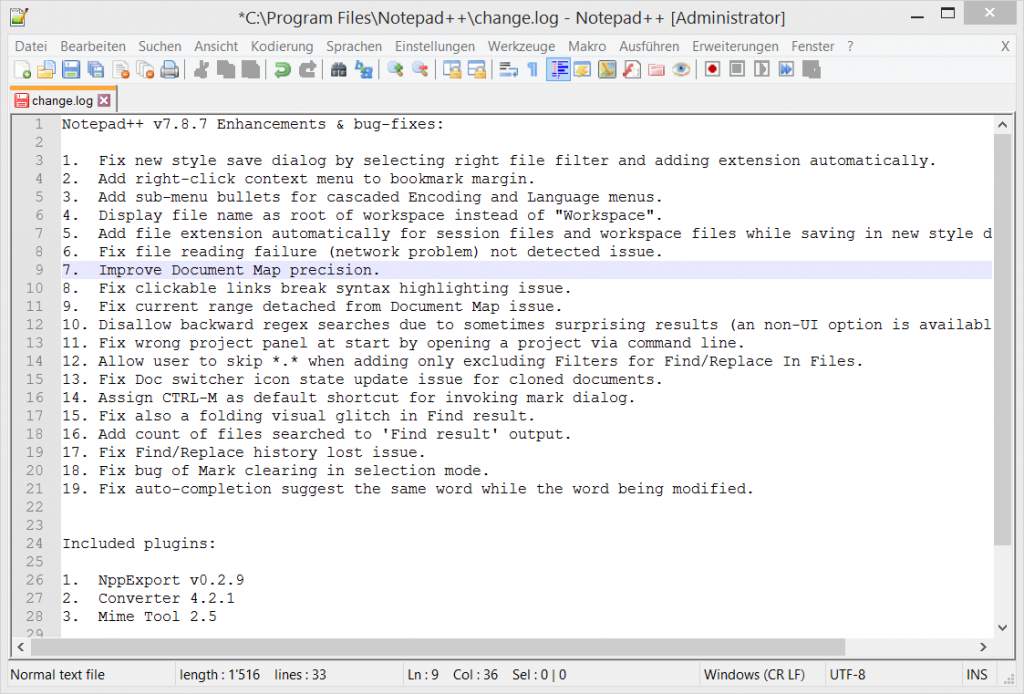 Notepad++ Code-Editor mit Syntax-Highlighting