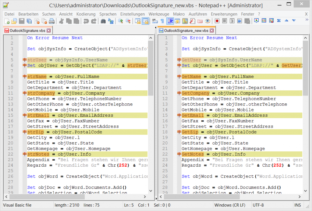 Source Code Compare in Notepad++