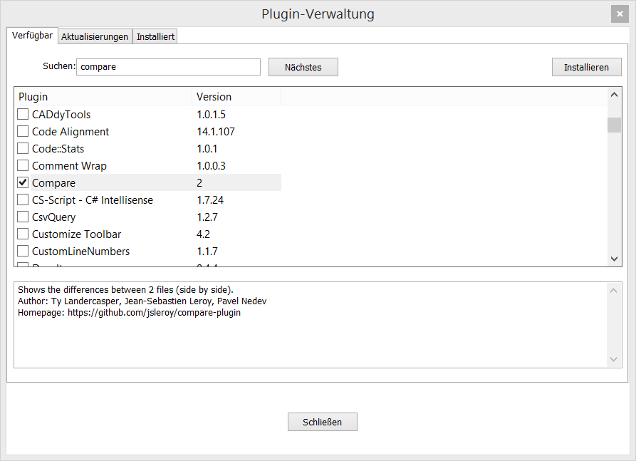 Notepad++ Plugin-Verwaltung
