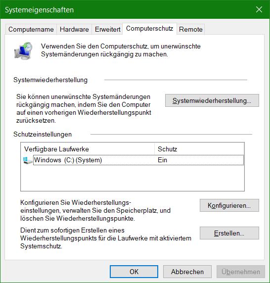 Computerschutz Systemeigenschaften öffnen