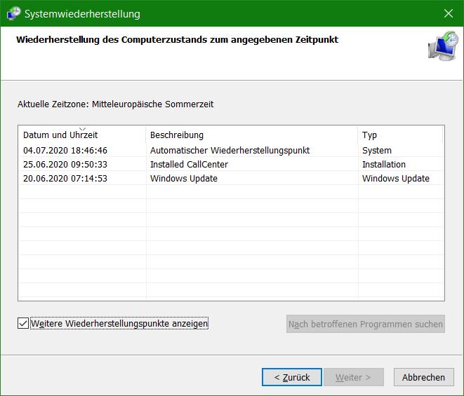 Windows Systemwiederherstellung