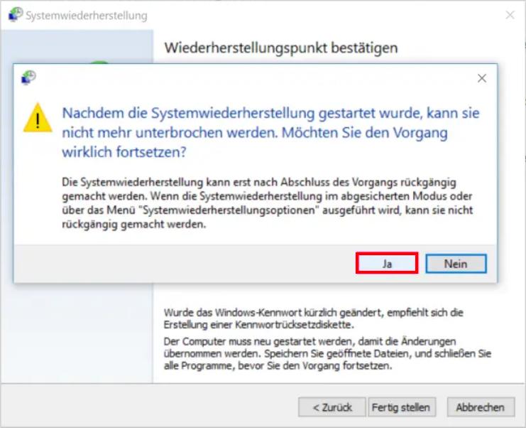 Windows Wiederherstellungspunkt
