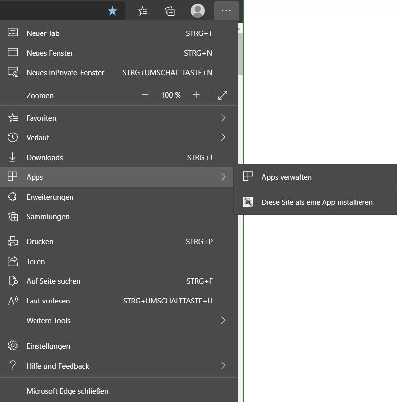 Mit dem neuen Microsoft Edge. Diese Seite als eine App installieren