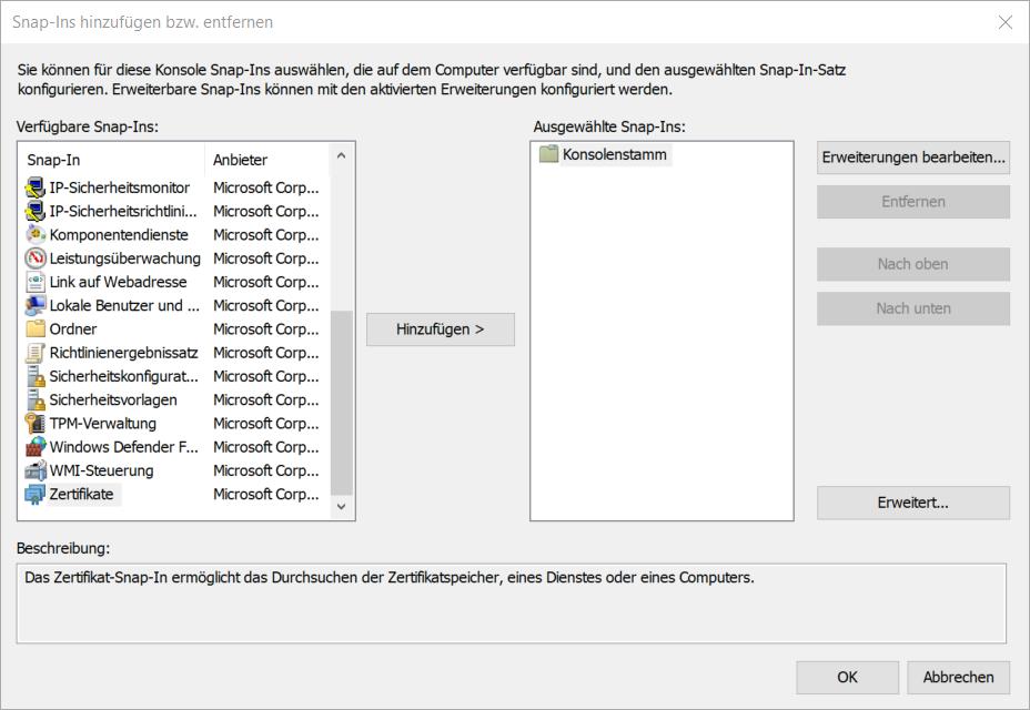 Im Fenster Verfügbare Snap-In steht unten das Snap-In Zertifikate zur Auswahl, dieses selektieren und den Button Hinzufügen klicken.