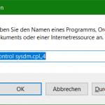 Windows 10 Systemsteuerung Kurzbefehle