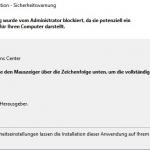 Diese Anwendung wurde vom Administrator blockiert