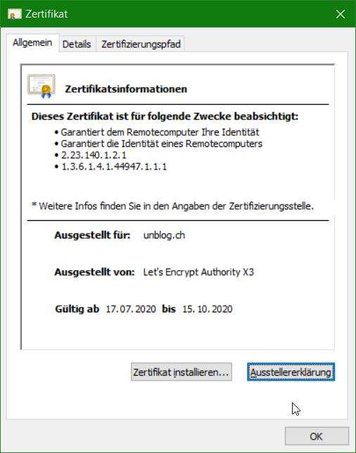 Mit doppelklick auf das so gespeicherte öffentliche Zertifikat, öffnet sich dieses und zeigt sich unter Windows wie folgt.