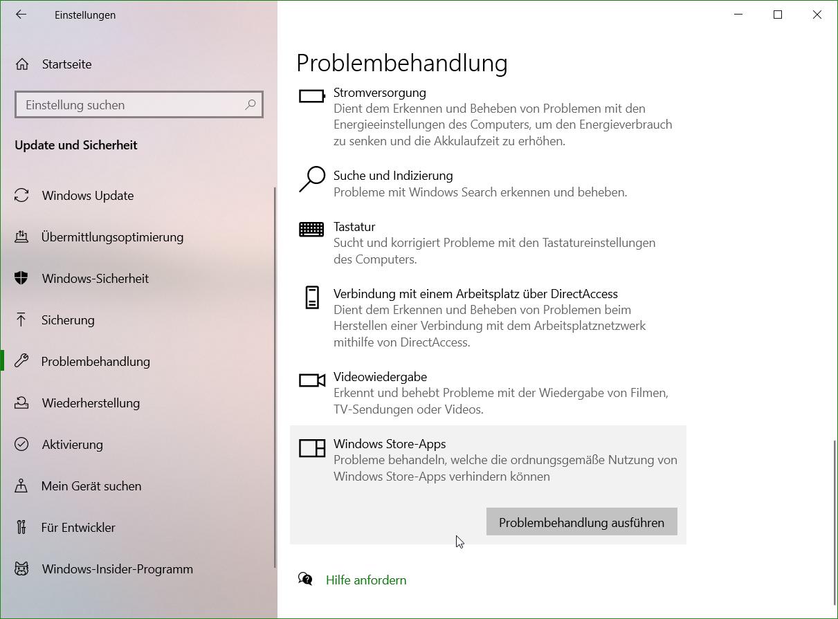 Reparatur mit hilfe der Windows Empfohlenen Problembehandlung ermitteln