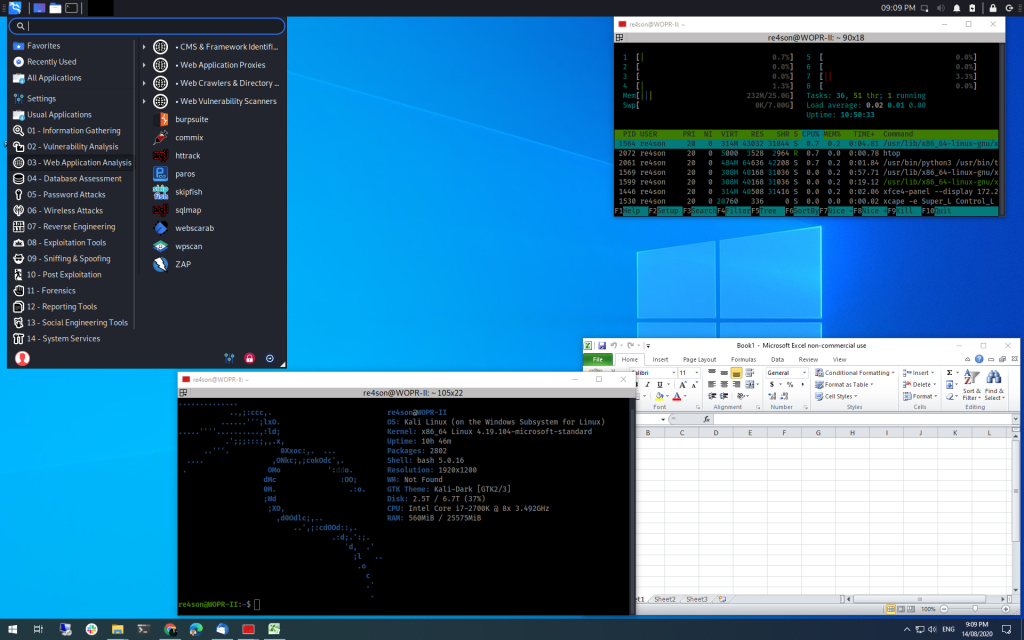 Win-KeX SL mode kex --sl provides the seamless integration of Kali Linux into the Windows desktop with the Windows Start menu below and the Kali panel at the top of the screen.