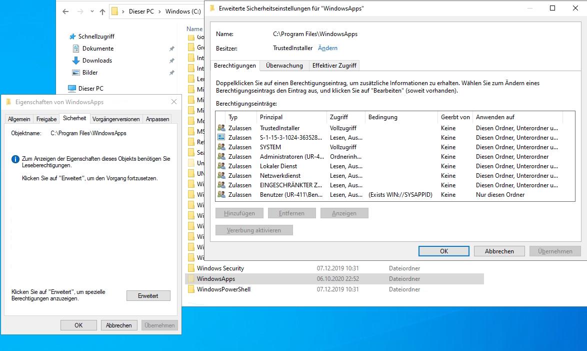 Erweiterte Sicherheitseinstellungen für WindowsApps trustedinstaller öffnen